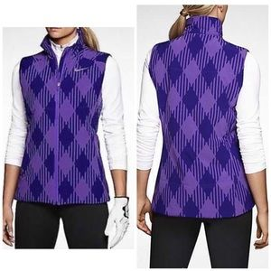 Nike Golf Purple Puffer Vest Check Plaid Argyle S